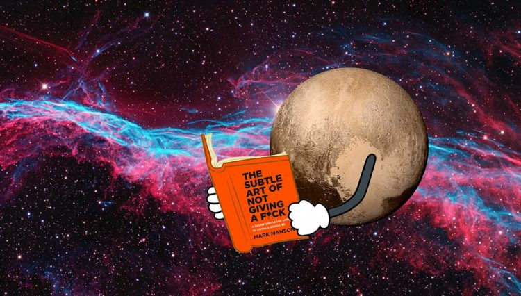 The dwarf planet Pluto reading a book