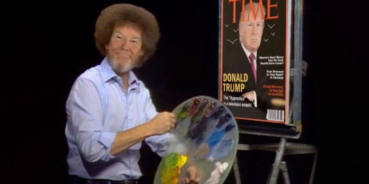 Trump painting his own little world